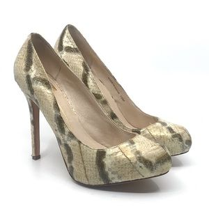 DOLCE VITA CREAM BROWN SNAKE EMBOSSED PUMP